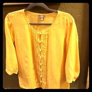 J. Jill gorgeous yellow linen 3/4 sleeve LIKE NEW